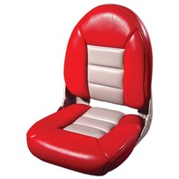 NAVISTYLE  HI-BACK BOAT SEAT-Red/Gray Vinyl