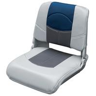 BLAST-OFF TOUR SERIES PRO STYLE PLASTIC FOLDING BOAT SEAT-Gray/Charcoal/Blue