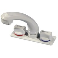 WHALE ELEGANCE COMBINATION FAUCET/SHOWER w/Hot & Cold Mixer, White, 5.5' Hose