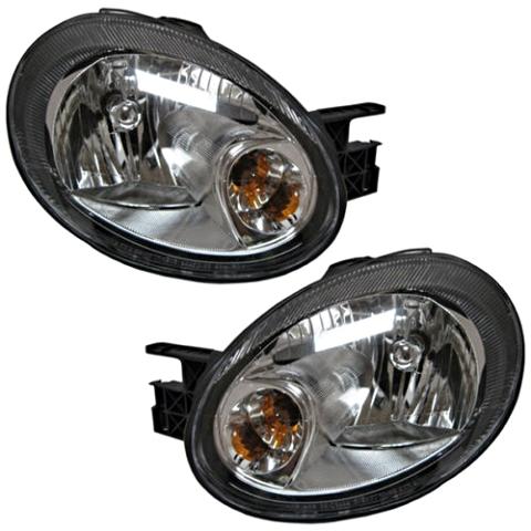 Fits 03-05 Dodge Neon Left & Right Headlamp Assembly w/black bezel - Set