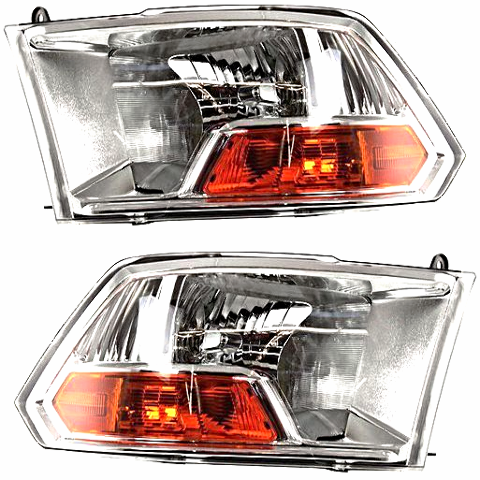Fits 09-12 Dodge Ram 1500 2500 3500 Left & Right Headlamp WithOut Quad Headlamps