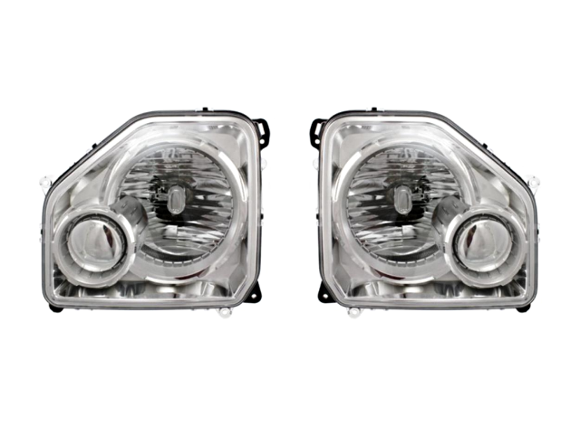 Fits 08-12 Jeep Liberty Left &Right Headlamp Assm W/Chrome Bezel No Fog Lamp-Set