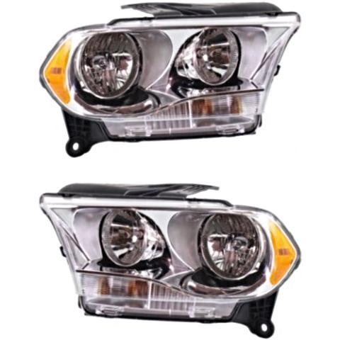 Fits 11-13 Dodge Durango Left & Right Halogen Headlamp Assem w/Chrome Bezel-Set