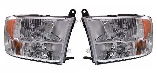 Fits 13-18 Ram Pickup Left & Right Set Halogen Headlamp (Standard) Chrome Bezel