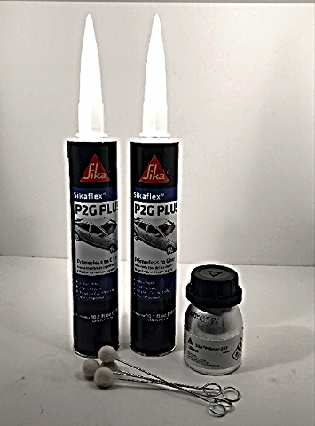 Auto Glass Urethane, Adhesive, Sealant  Primerless to Glass  2 Tubes Sikaflex P2G Plus & Primer, Daubers