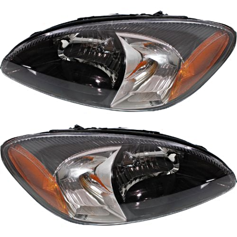 Fits 00-07 Ford Taurus Left & Right Headlamp Assemblies With Black Bezel