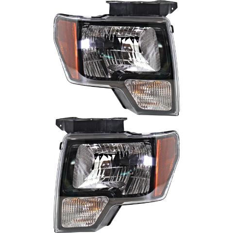 Fits 10-14 Ford F150 SVT Raptor Left & Right Halogen Headlamp W/Black Trim - Set