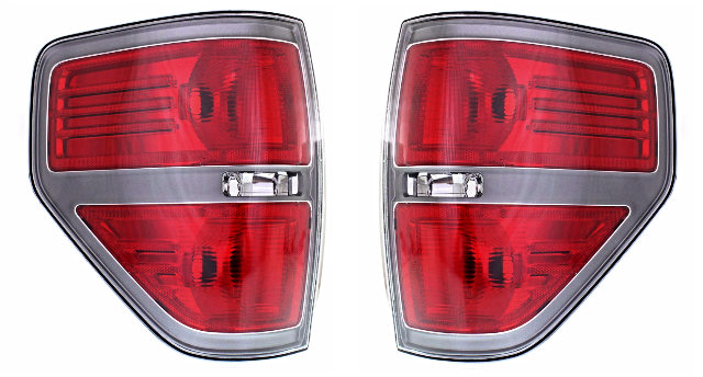 Fits 09-14  F150 Left & Right Set Tail Lamp Assem with Sterling Gray Trim