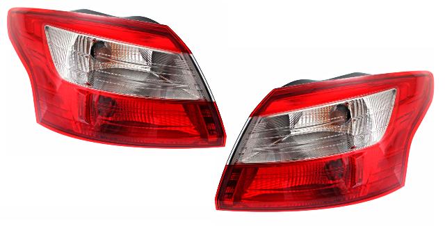 Fits 12-14  Focus Sedan Left & Right Set Tail Lamp Assemblies Quarter Mounted