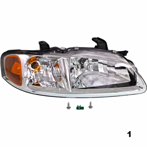 Fits 02-03 NISSAN SENTRA RIGHT PASSENGER HEADLAMP ASSEMBLY With/CHROME BEZEL