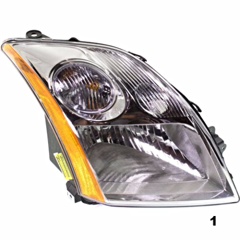 Fits 07-09 NISSAN SENTRA RIGHT PASSENGER HEADLAMP ASSEMBLY With/CHROME TRIM