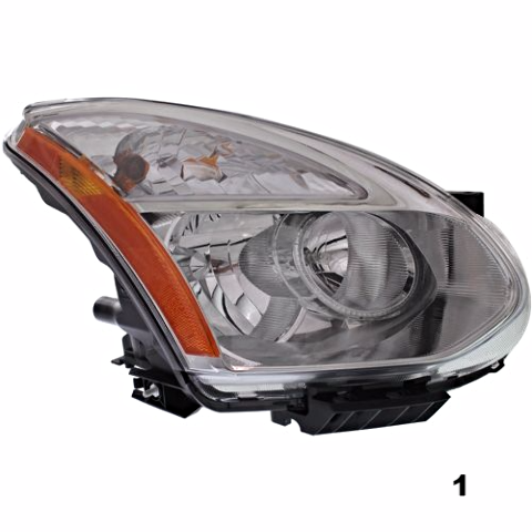 Fits 08-13  ROGUE RT PASS HALOGEN HEADLAMP ASSMB W/Out RIBBED SIGNAL LENS