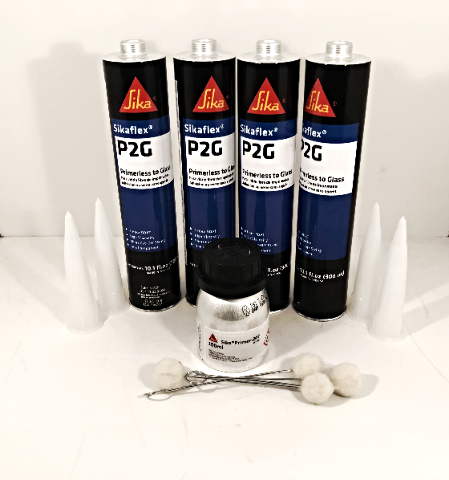 Auto Glass Urethane / Adhesive / Sealant  Primerless to Glass 4 Tubes Sika P2G & Pinchweld Primer 207