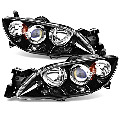 Fits 04-09 MAZDA 3 SEDAN LEFT & RIGHT SET HALOGEN HEADLAMP ASSEMBLIES