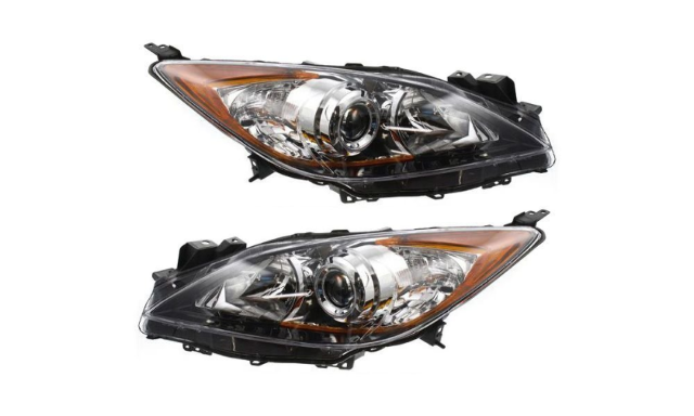 Fits 10-13 MAZDA 3 LT & RT SET HALOGEN HEADLAMP ASSMBS w/ CHROME PROJECTOR BEZEL