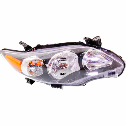 Fits 11-13 Toyota COROLLA RIGHT PASSENGER HEADLAMP ASSEMBLY With/BLACK HOUSING