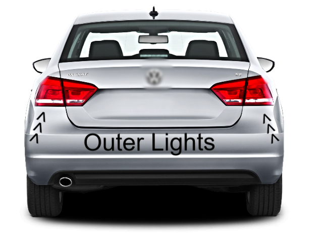 Set Left & Right Tail Lamp Assemblies Outer Quarter Mounted for 12-15 VW PASSAT