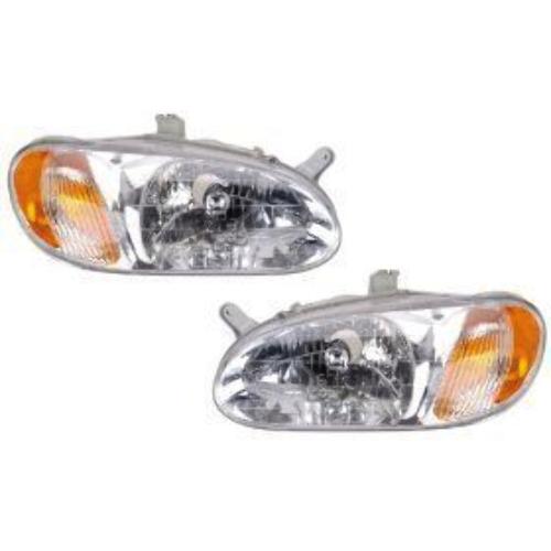 Fits 98-01 Kia Sephia Left & Right Headlamp Assemblies - Set