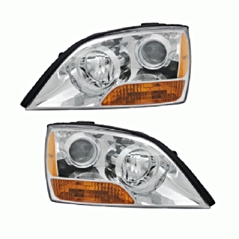 Fits 07-09 Kia Sorento Left & Right Headlights  With Chrome Bezel - Set