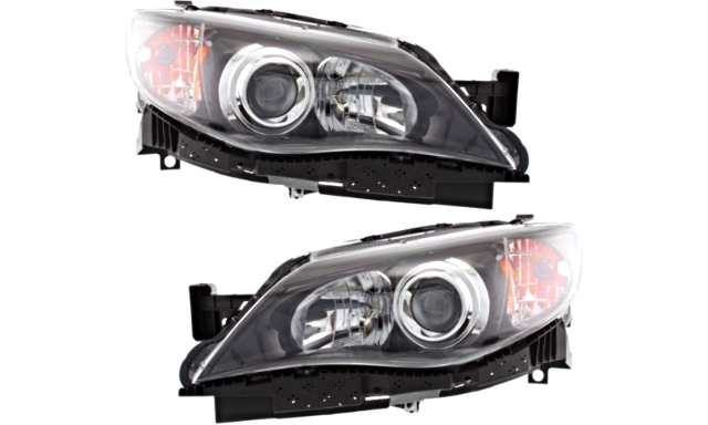 Fits 08-11 Subaru Impreza; WRX Left & Right Halogen Headlamp w/Black Bezel - Set