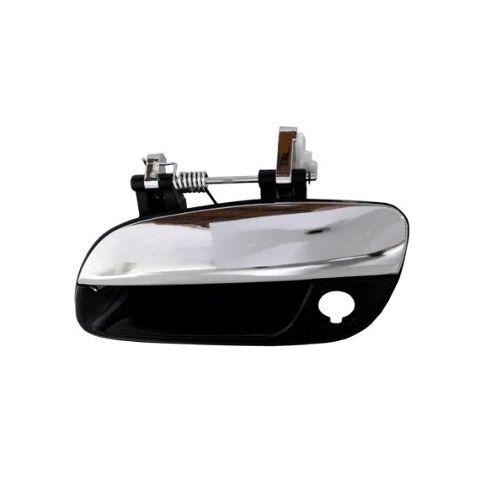 Fits 01-06 Elantra Left Driver Front Outside Door Handle w/ Keyhole Black/Chrome