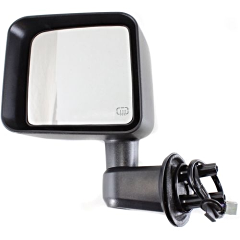 Fits 11-13  Wrangler Left Driver Power Mirror With Heat Manual Folding