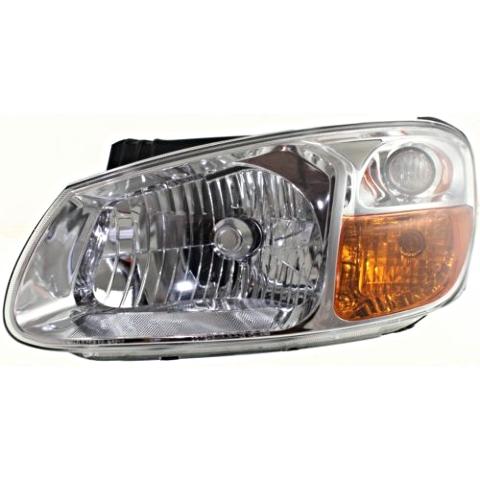 Fits 07-09 Kia Spectra, Spectra5 Left Driver Headlamp Assem W/Chrome Bezel