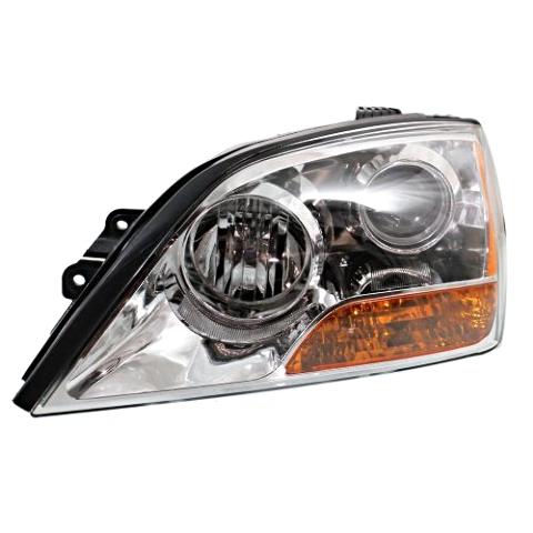 Fits 07-09  Sorento Left Driver Headlight With Chrome Bezel