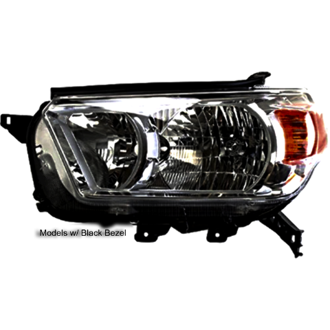 Right Passenger Halogen Headlight Assembly for 10-13 Toyota 4Runner w/Black Bezel