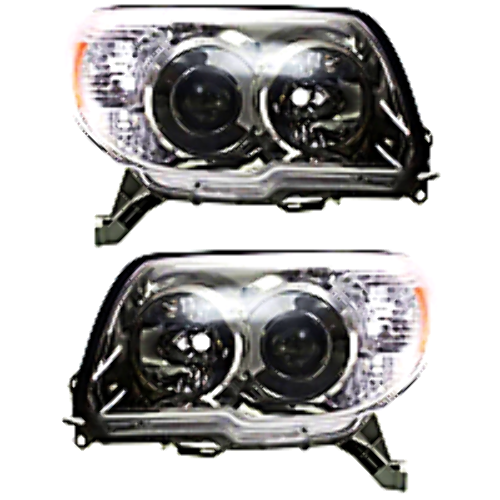Left & Right Set Halogen Headlight Assemblies for 10-13  4Runner w/Chrome Bzl