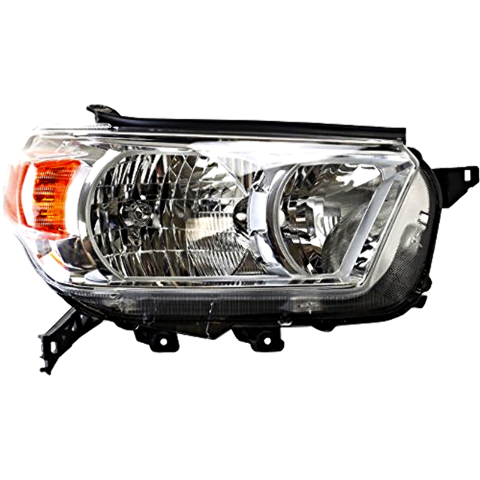 Right Pass Side Halogen Headlight Assembly for 10-13 Toy 4Runner w/Chrome Bezel