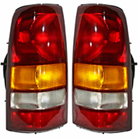 Fits 99-02  Silverado Fleetside Pickup/99-03 GM Sierra Fleetside Pickup Left & Right Set Tail Lamp Unit Assemblies Exc 3500