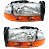 Fits 98-04 Dg Dakota Set Left & Right Composite Headlamp Assm w/park signal lamp