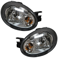 Fits 03-05  Neon Left & Right Headlamp Assembly w/black bezel - Set