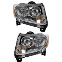 Fits 11-13  Compass Left & Right Halogen Headlamp Assemblies w/o leveling (pair)