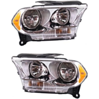 Fits 11-13  Durango Left & Right Halogen Headlamp Assem w/Chrome Bezel-Set