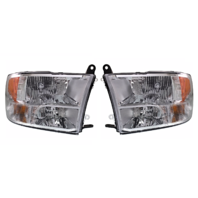 Fits 13-18 Ram Pickup Left & Right Set Halogen Headlamp (Standard) Chrome Bezel