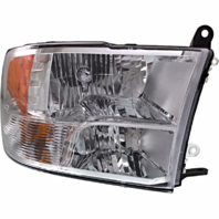 Fits 13-17 Ram Pickup Right Passenger Halogen Headlamp (Standard) Chrome Bezel