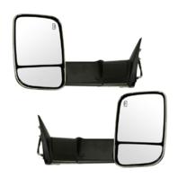 Fits 09-12  Ram Pickup 1500 2500 3500 Left & Right Set Power Tow Mirror Chrome Flip-Up w/Heat, Signal, Memory, Puddle Light Manual Fold