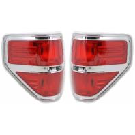 Fits 09-14  F150 Tail Lamp / Light Right & Left Set W/ Chrome Trim