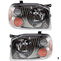FITS 01-04 NISSAN FRONTIER LT&RT SET HEADLAMP ASSEMBLIES With/BLACK-CHROME BEZEL