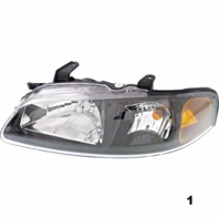 Fits 02-03  SENTRA LEFT & RIGHT SET HEADLAMP ASSEMBLIES With/BLACK BEZEL