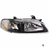 Fits 02-03  SENTRA RIGHT PASSENGER HEADLAMP ASSEMBLY With/BLACK BEZEL