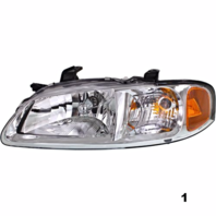 Fits 02-03  SENTRA LEFT & RIGHT SET HEADLAMP ASSEMBLIES With/CHROME BEZEL