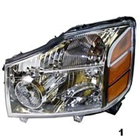 Fits 04-06 Nissan Titan 04-*07 Armada to 9-06 Left Driver Headlight Assembly