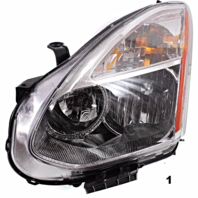 Fits 08-13  ROGUE LT DR HALOGEN HEADLAMP ASSEMBLY W/Out RIBBED SIGNAL LENS