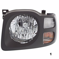Fits 02-04  XTERRA LEFT DRIVER HEADLAMP ASSEMBLY With/DARK GREY BEZEL