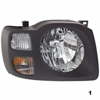FITS 02-04 NISSAN XTERRA RIHGT PASSENGER HEADLAMP ASSEMBLY With/DARK GREY BEZEL