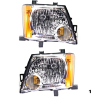 FITS 05-13 NISSAN XTERRA LEFT & RIGHT SET HEADLAMP ASSEMBLIES With/CHROME BEZEL