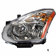 Fits 08-13  ROGUE LT DRIVER HALOGEN HEADLAMP ASSMB With/RIBBED SIGNAL LENS